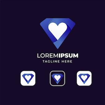 Diamant met liefde pictogram logo ontwerp templat