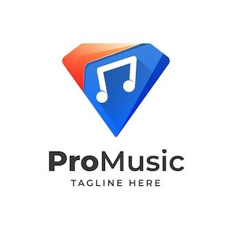 Diamant met muziek pictogram logo ontwerp