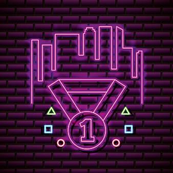 Diamant met nummer één op bakstenen muur, neonstijl