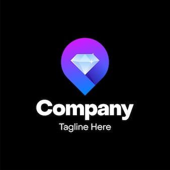 Diamant met plaatspictogram logo-ontwerp
