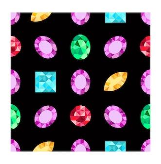 Diamanten of briljanten naadloos patroon. juwelen edelsteen op donkere achtergrond. edelsteen. patroon kan worden gebruikt als inpakpapier, achtergrond, stoffendruk, webpagina-achtergrond, behang