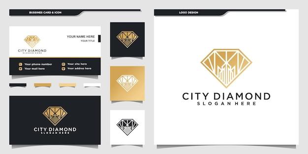 Diamanten stadslogo-ontwerpen met gouden negatieve ruimtestijl voor bedrijf premium vector