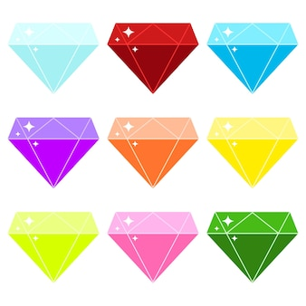 Diamanten vector icon set geïsoleerd op een witte achtergrond. kristallen collectie, kleurrijke glanzende juwelen. platte ontwerp, cartoon stijl briljanten ondertekenen in verschillende kleuren blauw, rood, paars, roze, geel.