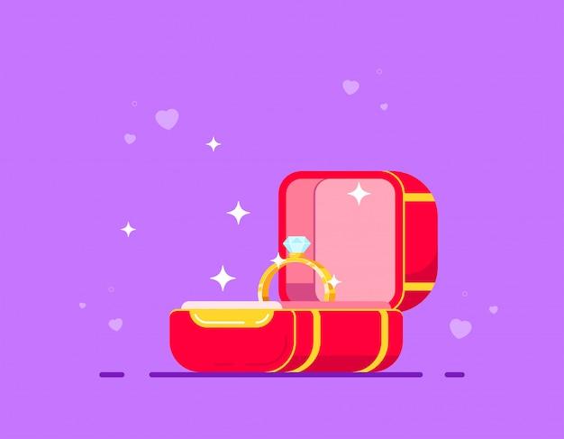 Diamanten verlovingsring in rode doos. huwelijksaanzoek en liefdeconcept. vlakke stijl vector illustratie.