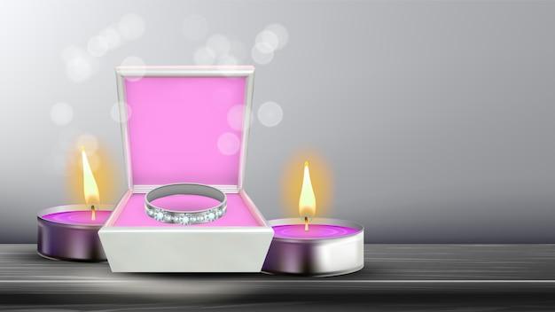 Diamanten zilveren ring in vierkante doos banner