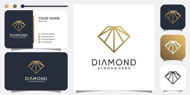 Diamantlogo met modern creatief lijnconcept premium vector