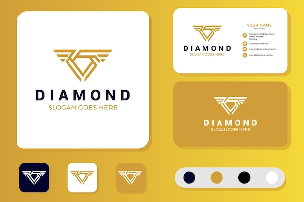 Diamantvleugels logo-ontwerp en visitekaartje