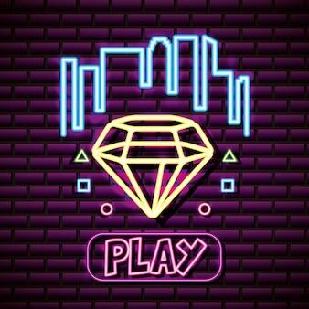 Diamantvorm met buildongs, bakstenen muur, neonstijl