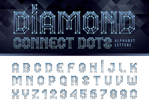 Diamond line connect dots alfabetletters en cijfers