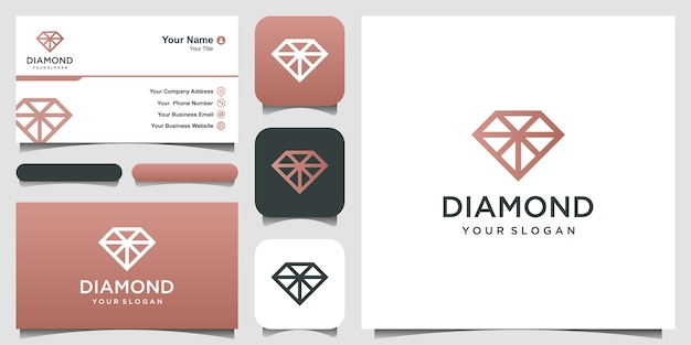 Diamond logo. uitstekend sieradenlogo. pictogram en visitekaartje