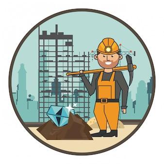Diamond mining en worker with pick