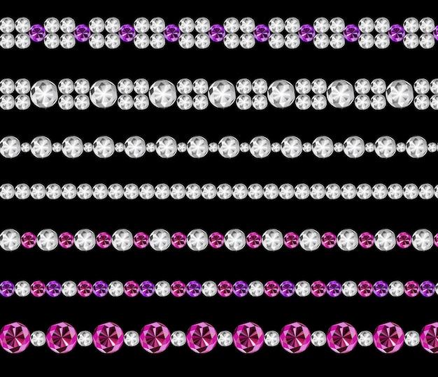 Diamond realistic borders set illustration