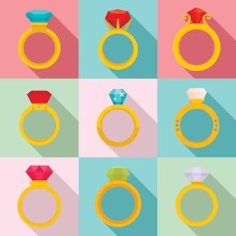 Diamond ring iconen set, vlakke stijl