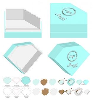 Diamond shape box verpakking gestanst sjabloonontwerp