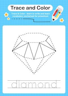 Diamond-trace en kleuterschool-werkbladtracering voor kinderen voor het oefenen van fijne motoriek