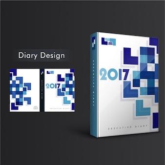 Diary cover design met geometrische vormen in blauwe tinten