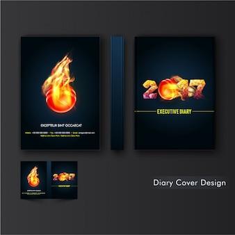 Diary cover design met vlammende bal