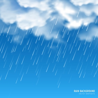 Dichte witte zon aangestoken wolken produceren stromende regen tegen blauwe hemelachtergrond