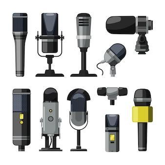 Dictafoon, microfoon en andere professionele hulpmiddelen voor verslaggevers en sprekers