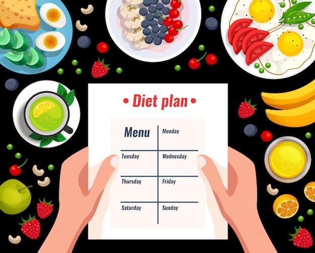 Dieet cartoon cartoon afbeelding met verschillende nuttige gerechten en menu blad in handen van de vrouw
