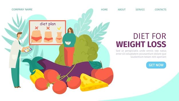Dieet en gewichtsverlies bestemmingspagina illustratie