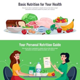 Dieet horizontale banners met basisvoeding voor een goede gezondheid en persoonlijke voedingsgids cartoon