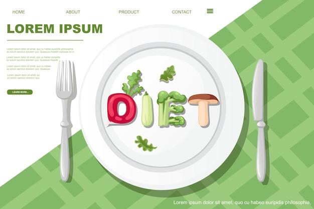 Dieet stijl cartoon plantaardig ontwerp op witte plaat met mes en vork platte vectorillustratie op witte en groene achtergrond horizontale banner website pagina-ontwerp