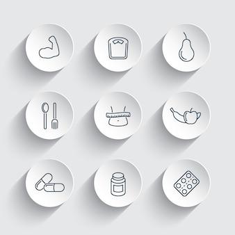 Dieet, voedingslijnpictogrammen op ronde 3d-vormen, vectorillustratie