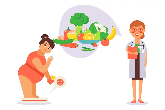 Dieet voorschrijven voor patiënt met overgewicht, illustratie. meisje staan op de weegschaal met frietjes, fast food. dokter, voedingsdeskundige