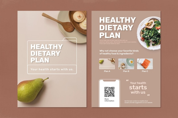 Dieetplan poster sjabloon vector set