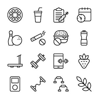 Dieetplan, sportsupplement, nutrition icons-bundel