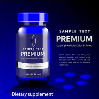 Dieetsupplementen, glutathione-verpakkingen met capsules