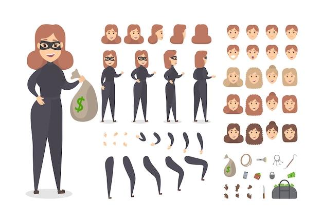 Dief glimlachend vrouwelijk personage in masker ingesteld voor animatie met verschillende weergaven, kapsels, gezichtsemoties, poses en gebaren. zak met geld en roversbenodigdheden. geïsoleerde platte vectorillustratie