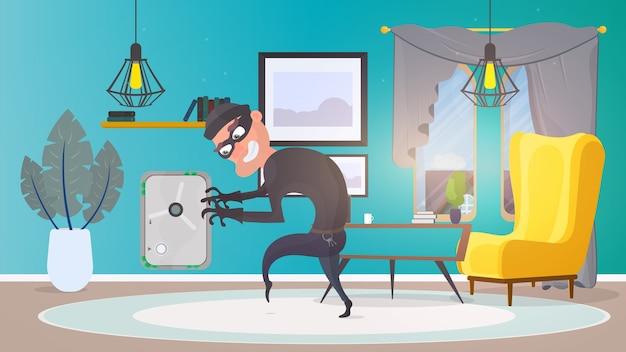Dief in huis. een overvaller steelt geld uit een kluis. veiligheidsconcept. vlakke stijl illustratie.
