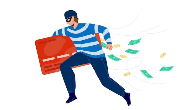 Dief man stelen geld van creditcard vector. dief loopt met stelen financiën, bandit inbreker jongen diefstal. karakter gangster financieel crimineel, illegale bezetting platte cartoon afbeelding