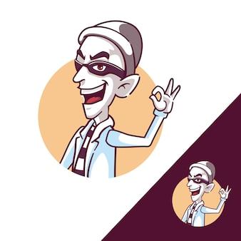 Dief ok mascotte cartoon logo