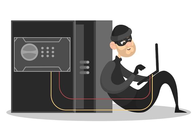 Dief steelt persoonlijke gegevens. cybercriminaliteit en hacking