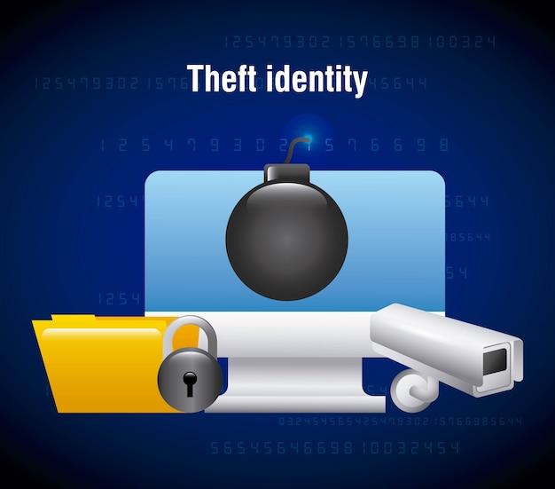 Diefstal identiteit computertechnologie map camera beveiliging