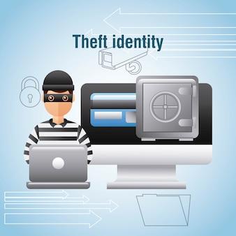 Diefstal identiteit hacker laptop computer veilige doos geld digitaal
