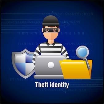 Diefstal identiteit hacker laptop map zoekbeveiliging