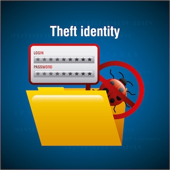 Diefstal-identiteitsmap bestand documenttoegangsvirus