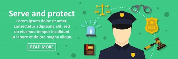 Dien en bescherm banner horizontaal concept