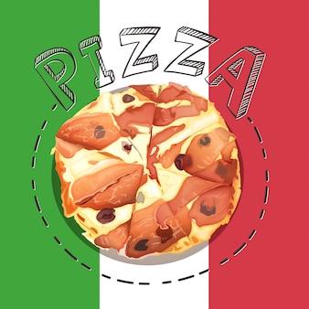 Dienblad van italiaanse pizza