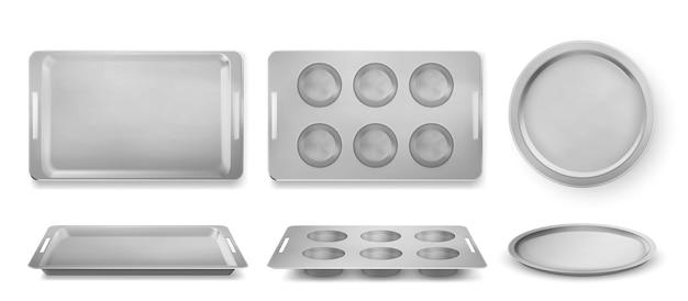 Dienbladen voor het bakken van muffins, pizza en bakkerij boven- en vooraanzicht, lege blikken