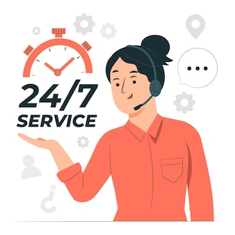 Dienst 24 7 concept illustratie