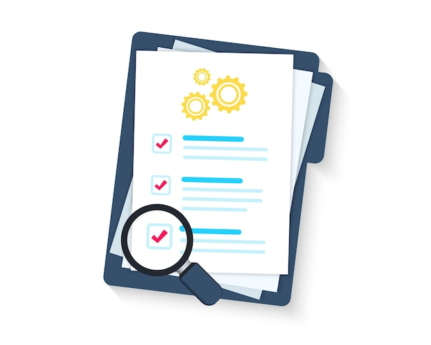 Dienst klembord. klembord of checklist. technische checklist. checklist voor technische ondersteuning, vergrootglasoplossing, software-upgrade. diensten testen. technische voorwaarden