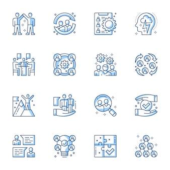 Dienst voor arbeidsvoorziening, teambuilding lineaire vector iconen set.