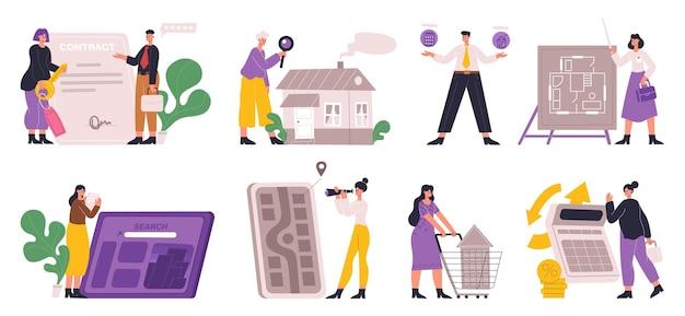 Dienst voor het zoeken, kopen of huren van onroerend goed. onroerend goed zakenagent en klant kopen huis vector illustratie set. investeringsmogelijkheid in onroerend goed