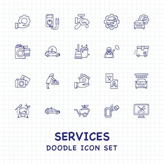 Diensten doodle pictogrammen set