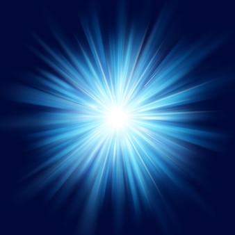 Diepblauwe gloed ster burst flare explosie transparant lichteffect.